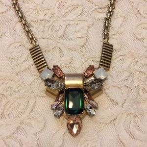 J crew emerald and brass necklace